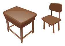 Wooden desk and chair. Illustration Royalty Free Stock Images