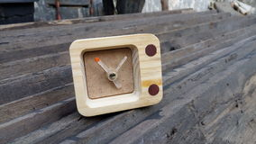 Wooden desk clock Stock Photos