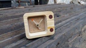 Wooden desk clock. Wooden pine desk clock Stock Photos