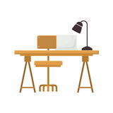 Wooden desk icon. Wooden desk with chair with lamp and laptop icon over white background. workplace design. vector illustration Stock Images