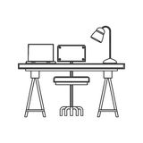 Wooden desk icon. Wooden desk with chair with lamp and laptop icon over white background. workplace design. vector illustration Stock Photography