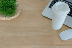 Wooden desk in office with laptop computer, white mouse, coffee tumbler and Tillandsia airplant.. royalty free stock photos