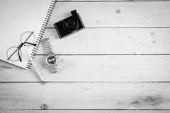 Wooden desk with various gadgets and accessories. Top view Royalty Free Stock Photography