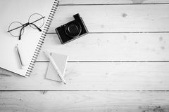 Wooden desk with various gadgets and accessories. Top view Stock Photography