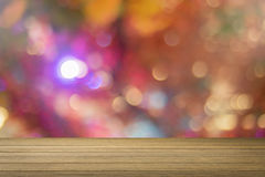 Wooden desk or wooden floor on bokeh light out of focus background.use for present or mock up your product. Stock Photo