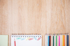 Wooden desktop with supplies Stock Photos
