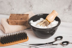 Wooden desktop with tools for shaving beards. Close up royalty free stock images