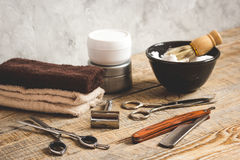 Wooden desktop with tools for shaving Stock Photography