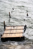 Wooden destroyed bridge Royalty Free Stock Photo
