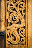 Wooden detail of the medieval Norwegian church in Heddal. Royalty Free Stock Image