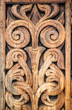 Wooden detail of the medieval Norwegian church in Heddal. Royalty Free Stock Photos