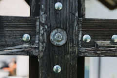 Wooden detail with screws stock image
