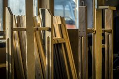 Wooden details from craftsman studio in Moscow. royalty free stock image