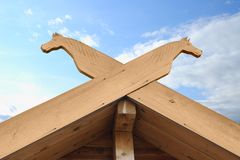 Wooden details on a roof ridge Royalty Free Stock Photo