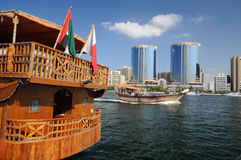 Wooden Dhow at Dubai Creek Royalty Free Stock Photos