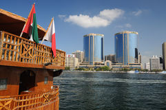 Wooden Dhow at Dubai Creek Stock Photo