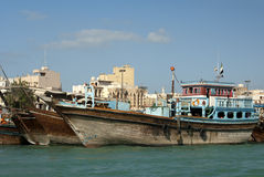Wooden Dhow merchant ships Stock Image