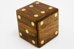Wooden dice. Big wooden dice on white background Stock Photography