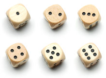 Wooden dice, all numbers Stock Images