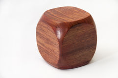 Wooden dice with blank sides for text Stock Image