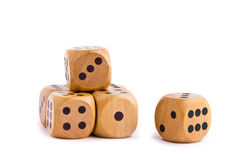 Wooden dice for board game Royalty Free Stock Photos