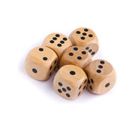 Wooden dice for board game Stock Photography