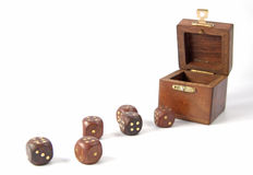Wooden dice and box Stock Photo