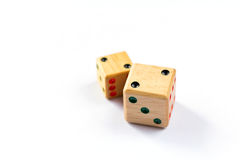 Wooden dice have double two point on white  background isolated Royalty Free Stock Images