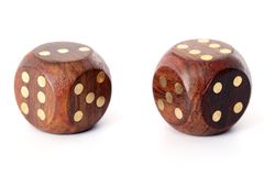 Wooden dice on white Stock Image