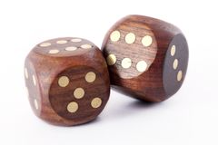 Wooden dice on white Stock Images