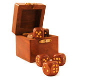 Wooden dices and box Royalty Free Stock Photos