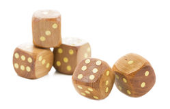 Wooden dices, isolated on white. Background Stock Photo