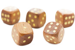 Wooden dices, isolated on white. Background Royalty Free Stock Image
