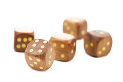 Wooden dices, isolated on white. Background Stock Photography