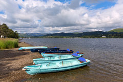 Wooden dinghy rowing boats in the Lake District Ullswater Cumbria England UK. In summertime stock images