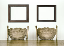 Wooden Dining room table and chair details Stock Photo