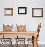 Wooden Dining room table and chair details Stock Photography