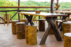 Wooden dining table Stock Photos
