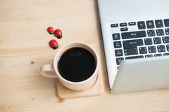 Wooden dining table with black coffee and red ladybug finding some sugar concept. Stock Image