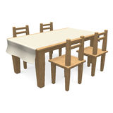 Wooden Dining Table Stock Photo