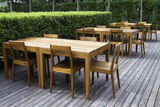 Wooden dining tables Royalty Free Stock Photo
