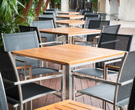 Wooden dining tables Stock Photography