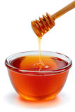 Wooden dipper with bowl of honey. Stock Images