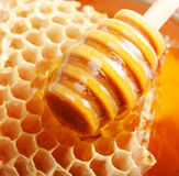 Wooden dipper, honey and honeycomb Stock Photos
