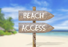Wooden direction sign with beach access Stock Photo