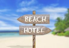 Wooden direction sign on beach or hotel Royalty Free Stock Photography