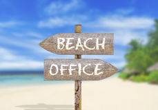Wooden direction sign on beach or office Royalty Free Stock Images