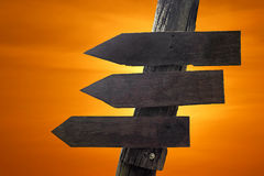 Wooden direction sign with blank spaces for text Royalty Free Stock Photos