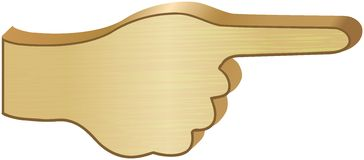 Wooden direction sign - hand with pointed finger Royalty Free Stock Images