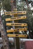 Wooden Direction Sign in national park  forest Royalty Free Stock Image